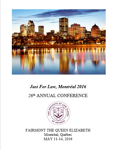 Summer 2016 - Conference Brochure Cover - Just For Law, Montreal 2016 HalfPage